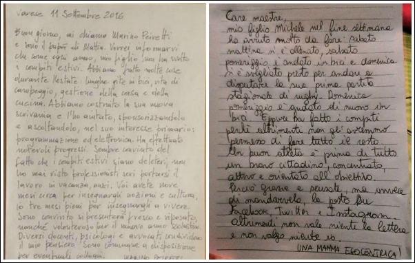 lettere alle maestre compiti