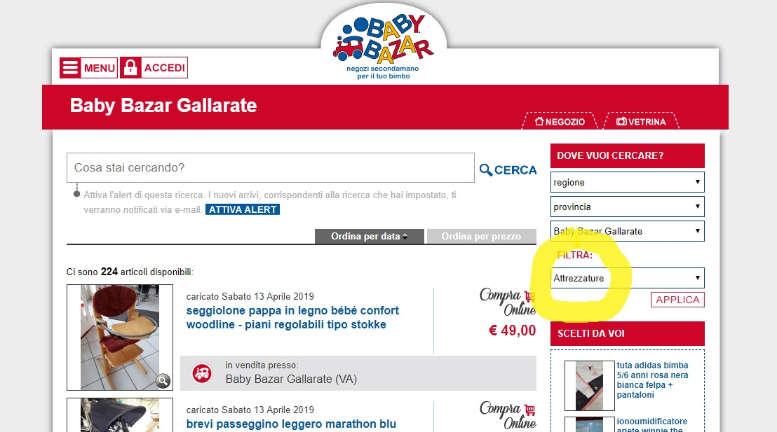 shop online BB Gallarate